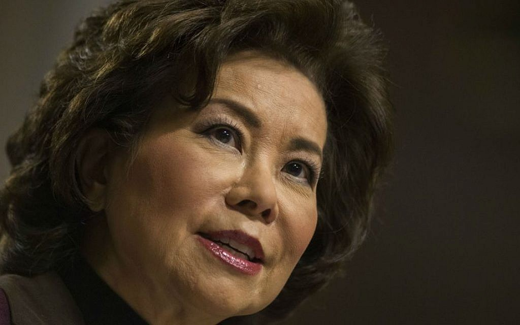In this Wednesday, Jan. 11, 2017 file photo, transportation Secretary-designate Elaine Chao testifies on Capitol Hill in Washington, at her confirmation hearing before the Senate Commerce, Science, and Transportation Committee. (AP Photo/Zach Gibson, File)