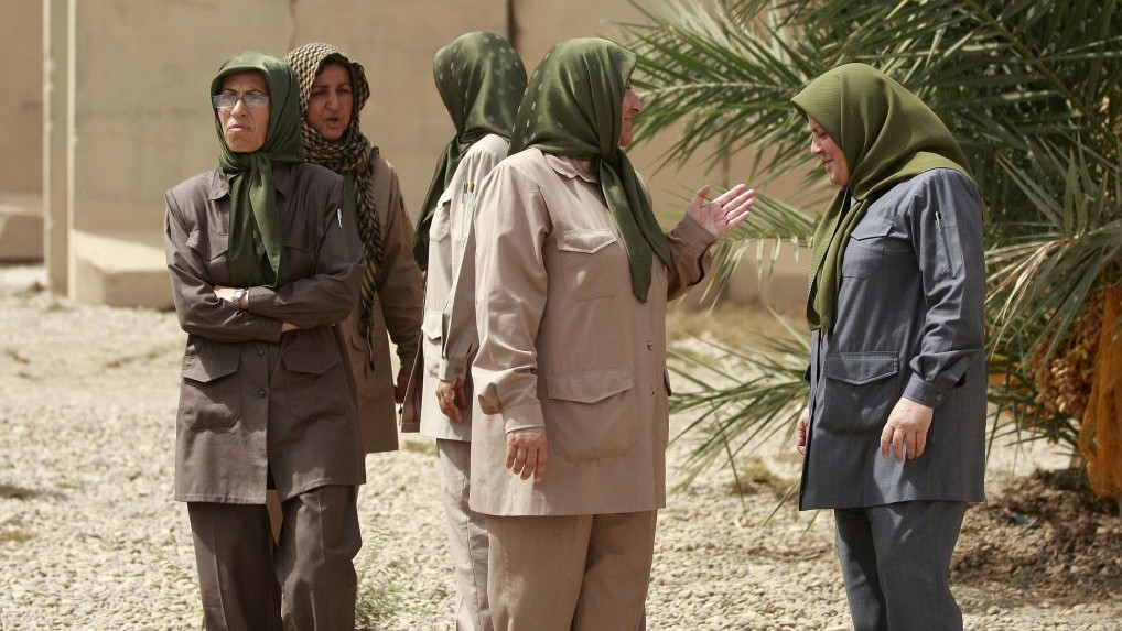 Members of the Mujahedeen-e-Khalq organization seen inside the Liberty refugee camp in Baghdad, Iraq, Tuesday, Sept. 11, 2012. (AP Photo/Hadi Mizban)