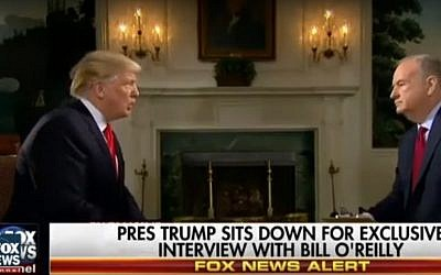 Screen capture of US President Donald Trump, left, during an interview with Fox News reporter Bill O'Reilly, February 2017. (screen capture: TDW News/YouTube)