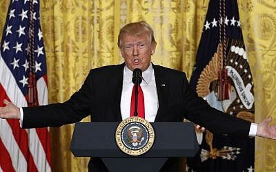 US President Donald Trump speaks during a news conference, Thursday, Feb. 16, 2017, in the East Room of the White House in Washington. (AP Photo/Pablo Martinez Monsivais)