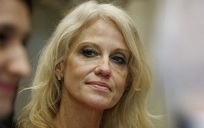 Kellyanne Conway, senior adviser to President Donald Trump, watches during a meeting with parents and teachers, Tuesday, February 14, 2017, in the Roosevelt Room of the White House in Washington. (AP Photo/Evan Vucci)