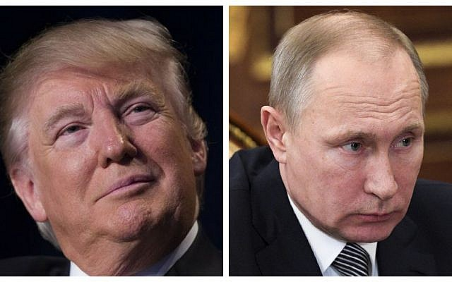 This combination of photos show US President Donald Trump at the National Prayer Breakfast, Thursday, Feb. 2, 2017, in Washington and Russian President Vladimir at a meeting in the Kremlin in Moscow, Russia, Friday, Feb. 3, 2017. ( (AP/Evan Vucci and Alexei Druzhinin/Sputnik, Kremlin Pool Photo via AP)