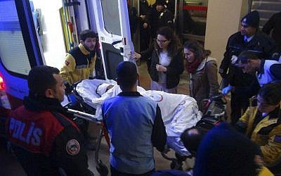 Paramedics carry a victim of a car bomb attack at a hospital in Viransehir, southeastern Turkey, late Friday, Feb. 17, 2017. (Omer Pinar/DHA-Depo Photos via AP)