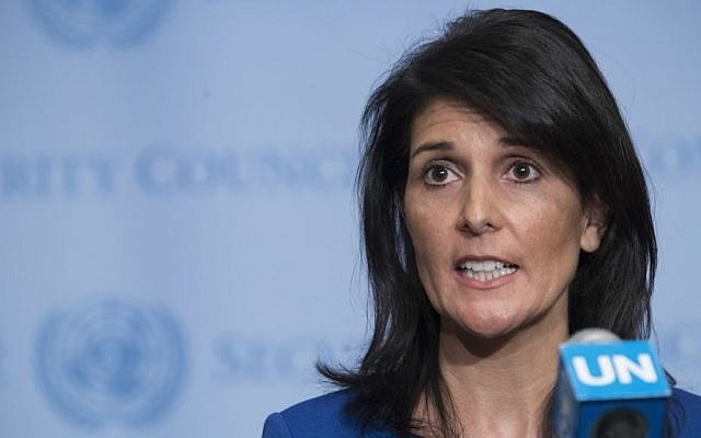 United States Ambassador to the United Nations Nikki Haley speaks to reporters after a Security Council meeting on the situation in the Middle East, Thursday, February 16, 2017 at UN headquarters. (AP Photo/Mary Altaffer)