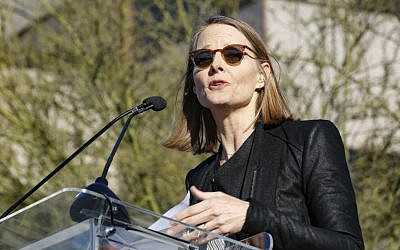 "Jodie Foster speaks at the UTA ""United Voices"" Rally at United Talent Agency headquarters on Friday, Feb. 24, 2017, in Beverly Hills, California. (Willy Sanjuan/Invision/AP)"