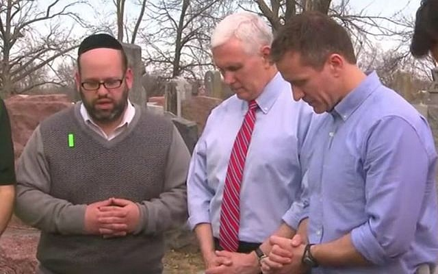 US Vice President Mike Pence visits a Jewish cemetery in St. Louis following an act of vandalism at the site. (YouTube screenshot)