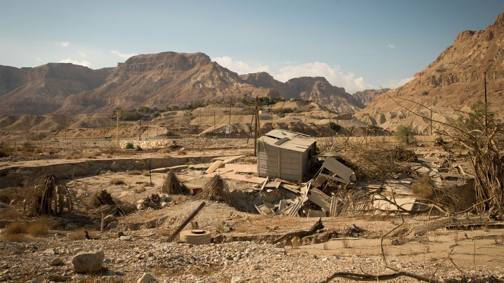 Abandoned buildings at the Kibbutz Ein Gedi public beach on January 3, 2017. (Luke Tress/Times of Israel)