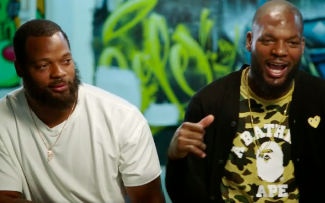 The Brothers Bennett, NFL players Michael Bennett (left) and Martellus Bennett, captured during an ESPN interview, were supposed to visit Israel on a seven-day trip; Michael Bennett has now become an outspoken opponent of the purpose of the trip (YouTube screen grab)