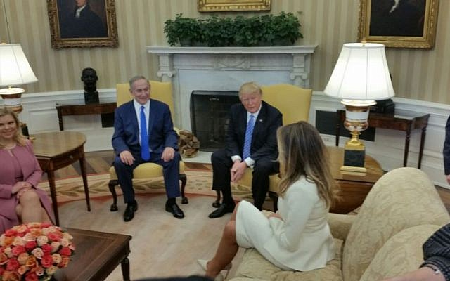 Benjamin Netanyahu, second left, and Donald Trump, second right, meeting in the Oval Office with their wives Sara Netanyahu, right and Melania Trump, left on February 15, 2017. (Raphael Ahren/ Times of Israel)