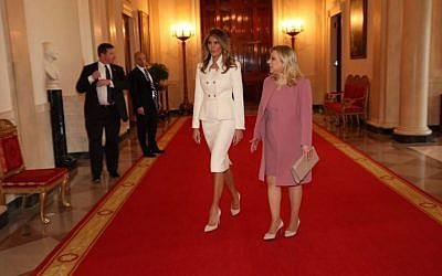 Sara Netanyahu meets First Lady Melania Trump in the White House, February 15, 2017, (Shmulik Armani)