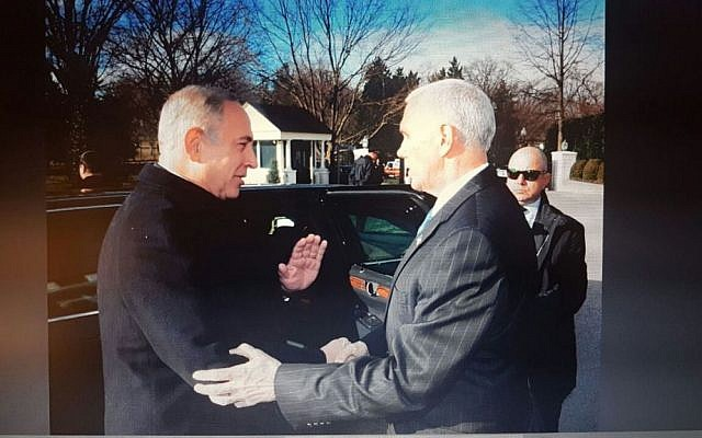 Prime Minister Benjamin Netanyahu meets US Vice President Mike Pence in Washington DC, February 16, 2017, (Avi Ohayun/GPO)
