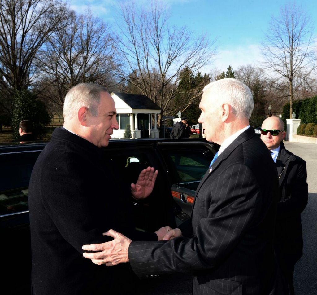 Prime Minister Benjamin Netanyahu meets US Vice President Mike Pence in Washington DC, Feburary 16, 2017, (Avi Ohayun/GPO)