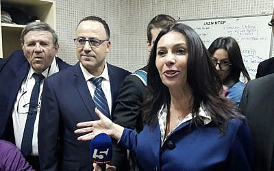 Miri Regev, center, speaks to the media from a locker room in Gaziantep, Turkey, on February 22, 2017. (Sports Ministry)