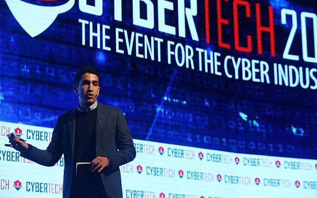 Itzhak Zuk Avraham, founder of Zimperium, speaking at CyberTech 2017 (Courtesy: Gilad Kavalerchik)
