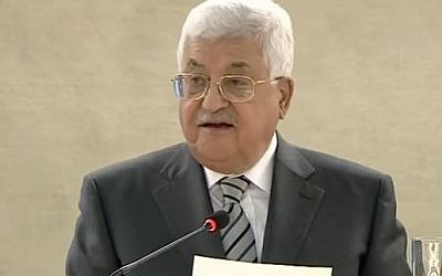 Palestinian President Mahmoud Abbas addresses the UN Human Rights Summit in Geneva on February 27, 2017. (Screen capture/YouTube)