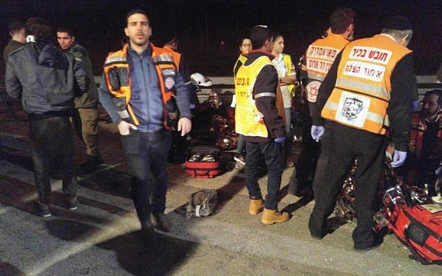 Rescue personnel attend the scene of a car-ramming attack in the West Bank that left three people wounded on February 2, 2017 (Photo: United Hatzala)