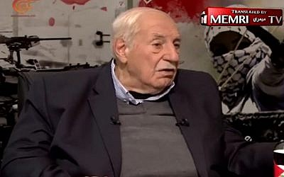 PFLP-GC Secretary-General Ahmad Jibril speaks to Al-Mayadeen TV on FEbruary 17, 2017 (Courtesy of MEMRI)