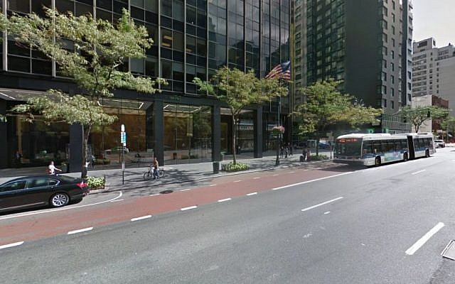External view of headquarters of Anti-Defamation League (ADL) in New York (Screen capture: Google maps)