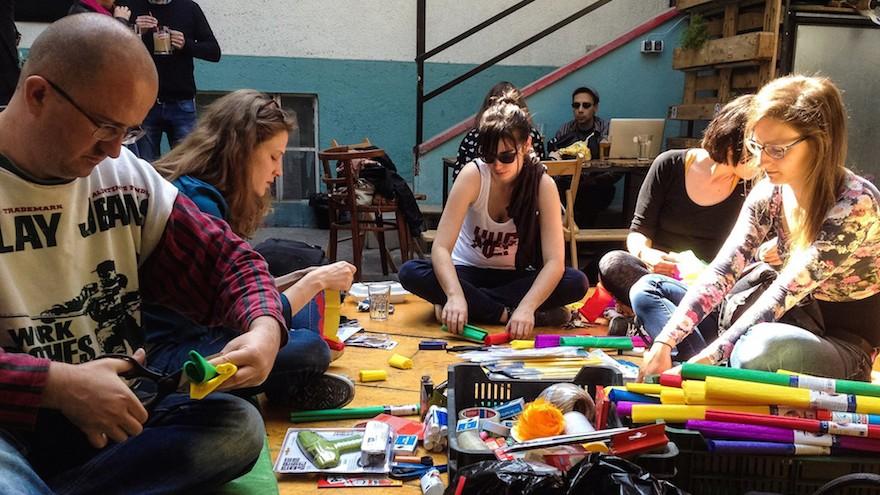 Activists preparing an educational activity at the Aurora center, April 23, 2016. (Courtesy of Aurora via JTA)
