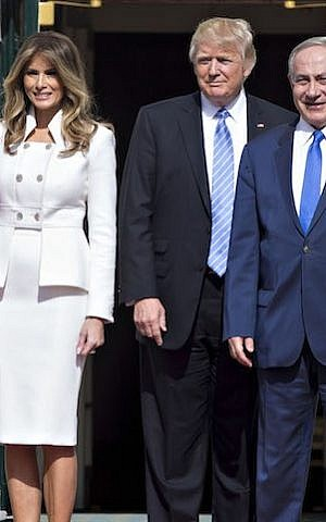 US President Donald Trump, second from right, and wife Melania, with Israeli Prime Minister Benjamin Netanyahu at the South Portico of the White House, February 15, 2017. (Andrew Harrer-Pool/Getty Images)