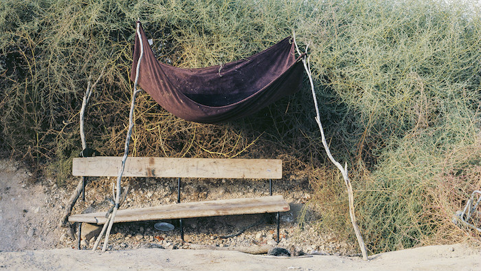 'Abderazik's Bench,' 2014 by Ron Amir, from 'Doing Time at Holot' (Courtesy Israel Museum)