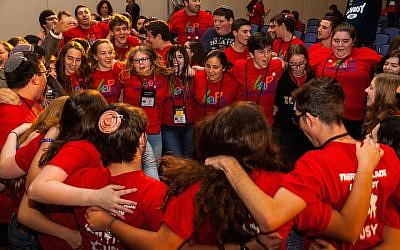 Illustrative: Members of USY celebrating at the United Synagogue of Conservative Judaism's 2015 convention. (Andrew Langdal, via JTA)