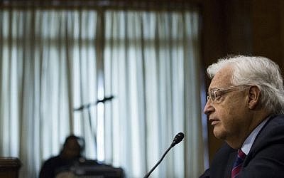 David Friedman testifies during a Senate Foreign Relations Committee hearing to examine his nomination to be US Ambassador to Israel on Capitol Hill February 16, 2017 in Washington, DC. (AFP/Zach Gibson)