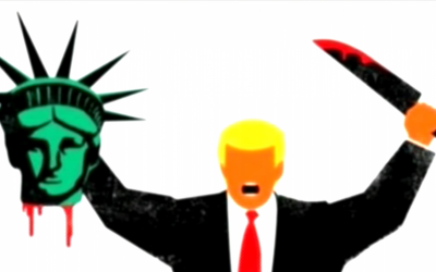 The cover of the February 4 edition of the German weekly Der Spiegel with an image of US President Donald Trump holding the Statue of Liberty's decapitated head. (Screen capture: YouTube)