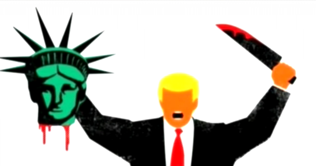 Mag cover shows trump beheading lady liberty the times for Logo der spiegel