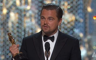 Leonardo DiCaprio gives his Oscar acceptance speech for Best Actor at the 2016 Academy Awards on February 28, 2016. (Screen capture/YouTube)