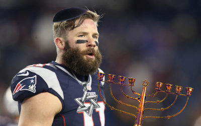 Julian Edelman can safely be called the best Jewish player in the NFL. (Getty Images/Illustration by Lior Zaltzman/via JTA)