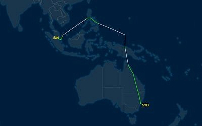 The flight trajectory of El Al Flight ELY33 from Singapore to Sydney, carrying Prime Minister Benjamin Netanyahu on February 22, 2017, showing a detour of some 2.5 hours to avoid Indonesian airspace. (Screenshot: FlightAware)