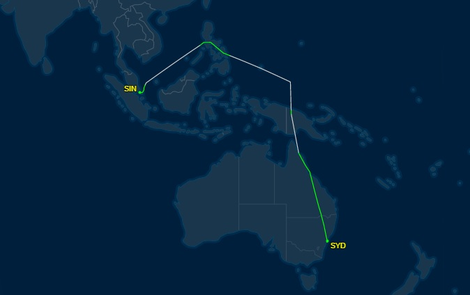 The Flight Trajectory Of El Al Ely33 From Singapore To Sydney Carrying Prime Minister