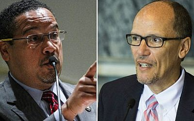 Keith Ellison, left, and Tom Perez lead the race to become the next head of the Democratic National Committee. (Getty Images/via JTA)