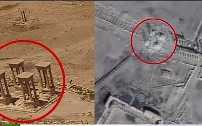 This photo combo, made from footage taken from the Russian Defense Ministry official website, purports to show the Roman-era amphitheater on June 6, 2016, left, and on Feb. 5, 2017, right, in Palmyra, Syria. (Screen capture/YouTube)