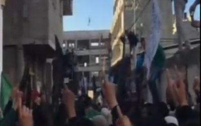 A screen capture from a video said to show mourners at a funeral for Hamas field commander Muhammad Hemada Walid al-Quqa in Gaza on January 5, 2017. (screen capture; Channel 2)
