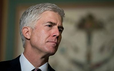 Supreme Court nominee Neil Gorsuch at a news conference on Capitol Hill, February 1, 2017. (Drew Angerer/Getty Images/via JTA)