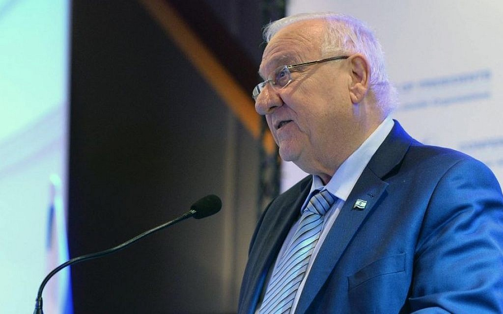 President Reuven Rivlin speaks at the Conference of Presidents of Major American Organizations, February 19, 2017, Jerusalem. (Mark Neiman / GPO)