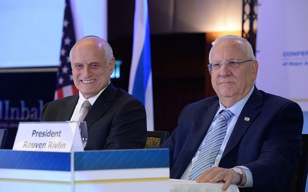 President Reuven Rivlin and Conference of Presidents of Major American Organizations CEO Malcolm Hoenlein, February 19, 2017 (Mark Neiman / GPO)