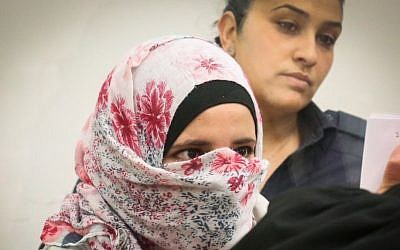 Shtila Abu Aiada, 23, form Kfar Qassem,  seen at the Lod District Court on April 17, 2016. Photo by Flash90