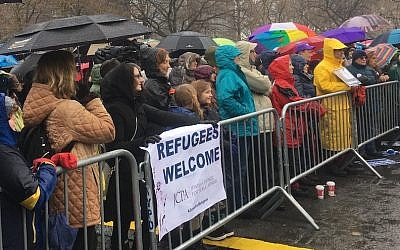 About 700 people attended a New York City rally in support of refugees organized by the Hebrew Immigrant Aid Society, February 12, 2017. (JTA/Josefin Dolsten)