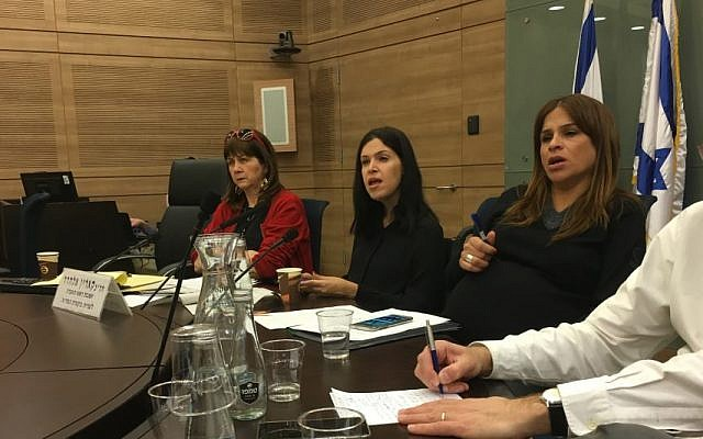MK Karine Elharar (center) and MK Merav Ben-Ari (right) preside over a Knesset State Control Committee meeting which discussed shutting down Israel's binary options industry, February 28, 2017 (Simona Weinglass/Times of Israel)