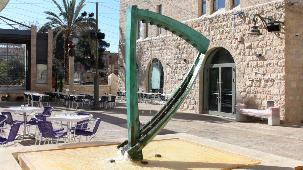 Kikar Hamusica, or Music Square, is one of the highlights of Jerusalem's Nahalat Shiva neighborhood. (Shmuel Bar-Am)