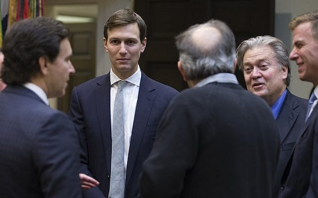 Jared Kushner at a meeting between President Trump and auto industry leaders in the Roosevelt Room of the White House, Jan. 24, 2017. (Shawn Thew-Pool/Getty Images)