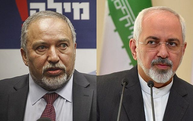 Defense Minister Avigdor Liberman (left) and Iranian Foreign Minister Mohammad Javad Zarif (Flash90 and AFP)