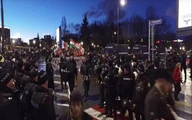 Nationalists marching in the annual Lukov March in Bulgaria On February 15, 2016. screen capture: YouTube)
