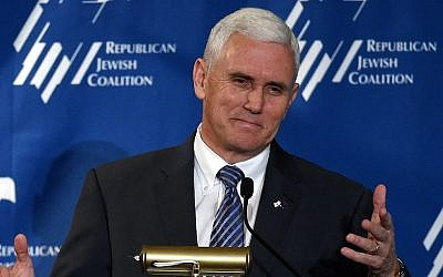 Indiana Gov. Mike Pence speaks during the Republican Jewish Coalition spring leadership meeting at The Venetian Las Vegas on April 25, 2015 in Las Vegas, Nevada.  (Ethan Miller/Getty Images)