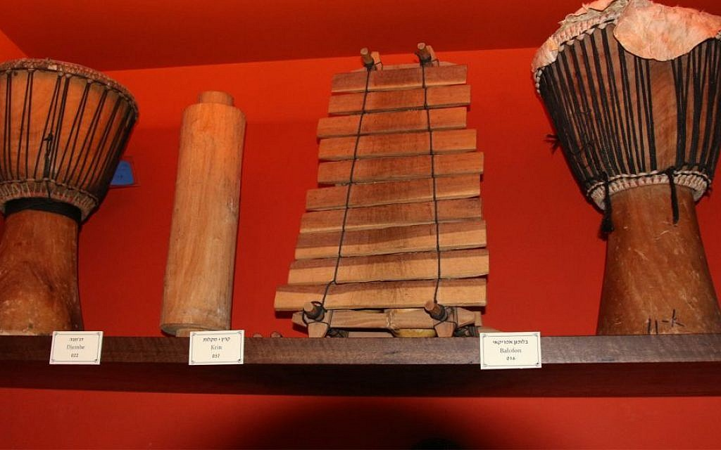 North African instruments in the Hebrew Music Museum, which features instruments used by diaspora Jewry in different countries. (Shmuel Bar-Am)