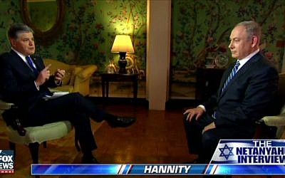 Prime Minister Benjamin Netanyahu speaks with Fox News's Sean Hannity, February 16, 2017 (Screen capture: Fox News)