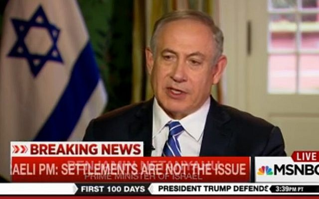 Prime Minister Benjamin Netanyahu gives an interview to MSNBC on February 16, 2017 (screen capture: MSNBC)